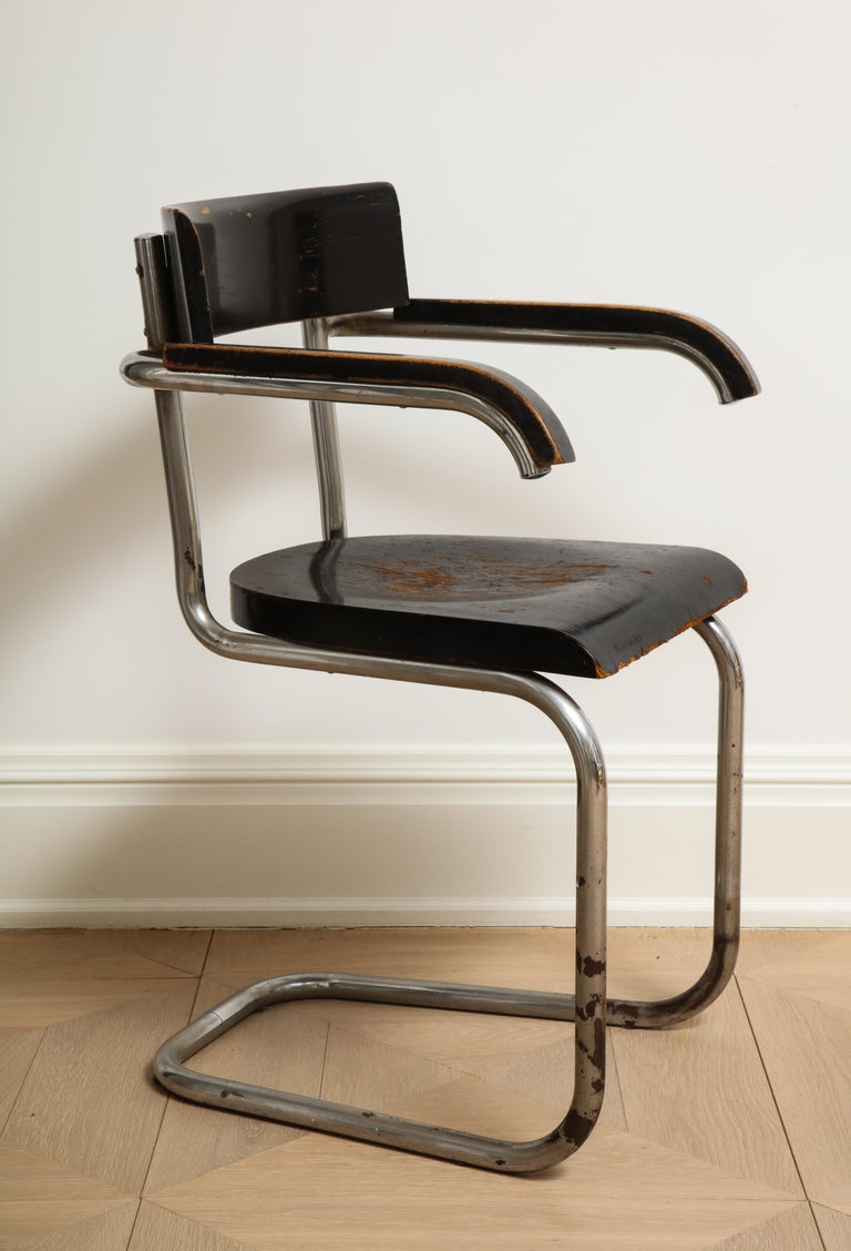 German Bauhaus Tubular Chromed Steel and Beech Armchair by Mart Stam for Thonet For Sale