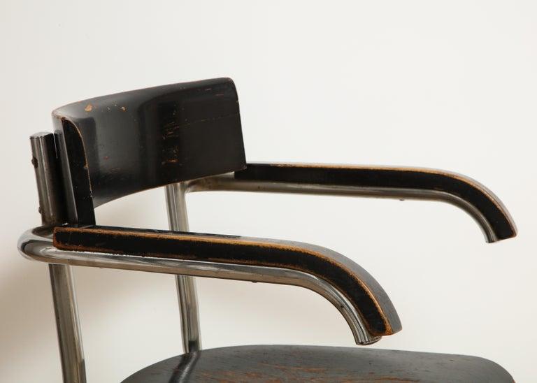 Ebonized Bauhaus Tubular Chromed Steel and Beech Armchair by Mart Stam for Thonet For Sale