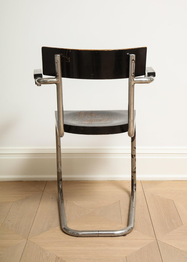 Bauhaus Tubular Chromed Steel and Beech Armchair by Mart Stam for Thonet For Sale 2