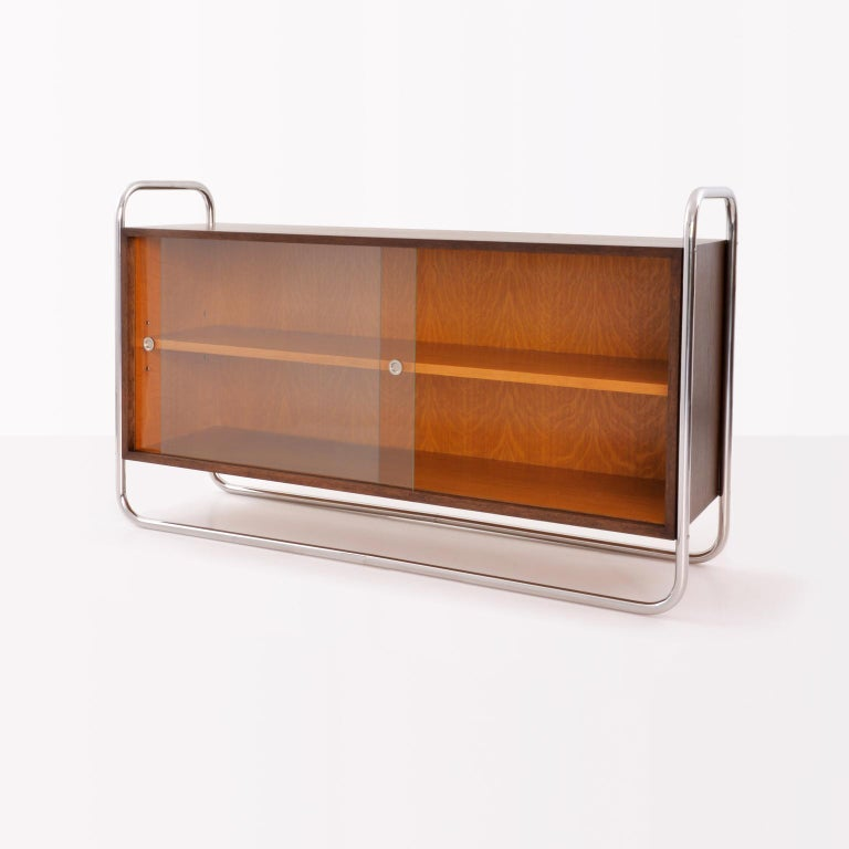 Modern Bauhaus Tubular Steel Low Bookcase, Woodcase and Sliding Glass Panels, Reedition For Sale