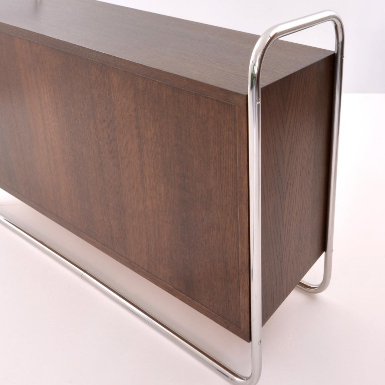 Plated Bauhaus Tubular Steel Low Bookcase, Woodcase and Sliding Glass Panels, Reedition For Sale