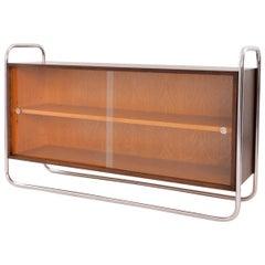 Bauhaus Tubular Steel Low Bookcase, Woodcase and Sliding Glass Panels, Reedition
