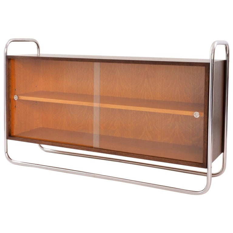 Bauhaus Tubular Steel Low Bookcase, Woodcase and Sliding Glass Panels, Reedition For Sale