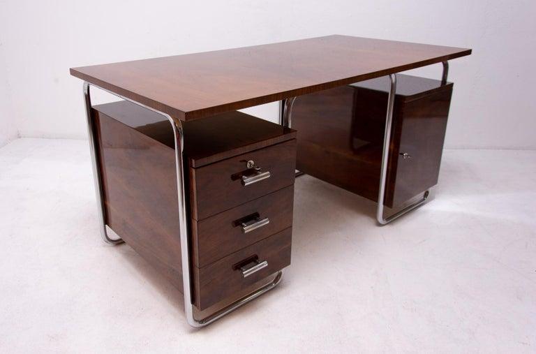 Bauhaus Tubular Writing Desk by Jindřich Halabala for UP Závody, 1930s, Bohemia For Sale 10