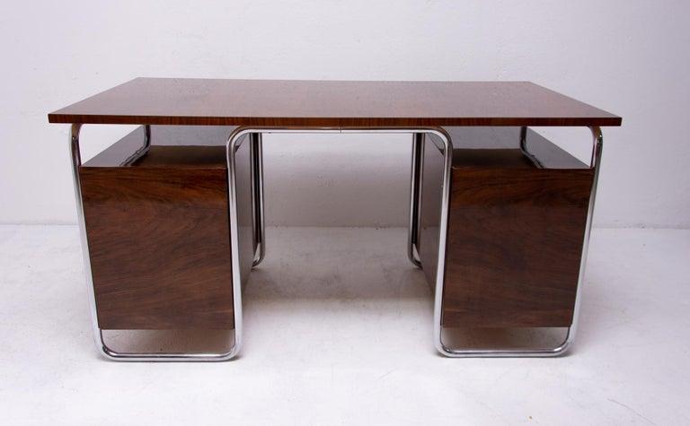 Bauhaus Tubular Writing Desk by Jindřich Halabala for UP Závody, 1930s, Bohemia For Sale 11
