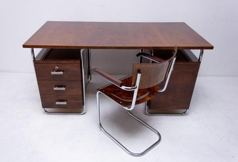 Bauhaus Tubular Writing Desk by Jindřich Halabala for UP Závody, 1930s, Bohemia For Sale 13