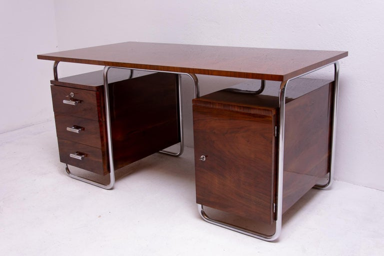 Mid-20th Century Bauhaus Tubular Writing Desk by Jindřich Halabala for UP Závody, 1930s, Bohemia For Sale