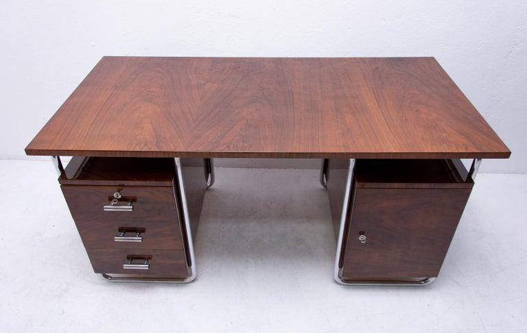 Bauhaus Tubular Writing Desk by Jindřich Halabala for UP Závody, 1930s, Bohemia For Sale 1