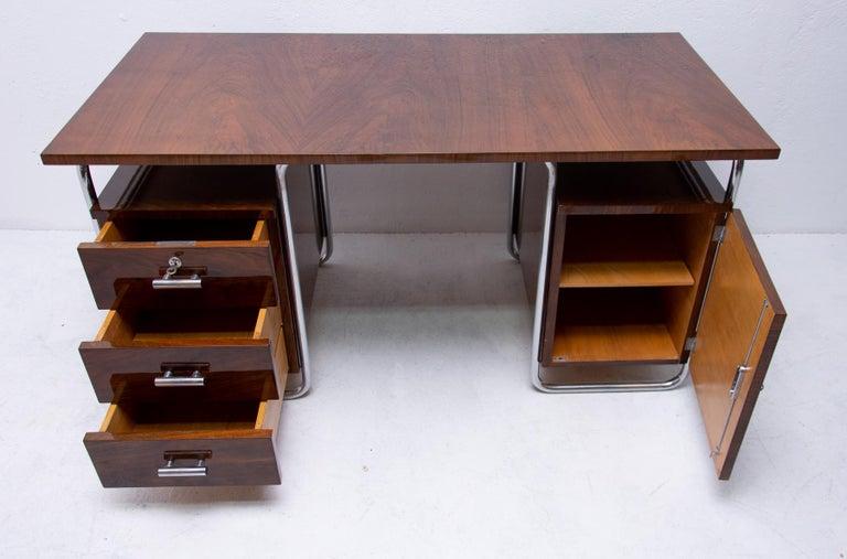 Bauhaus Tubular Writing Desk by Jindřich Halabala for UP Závody, 1930s, Bohemia For Sale 2