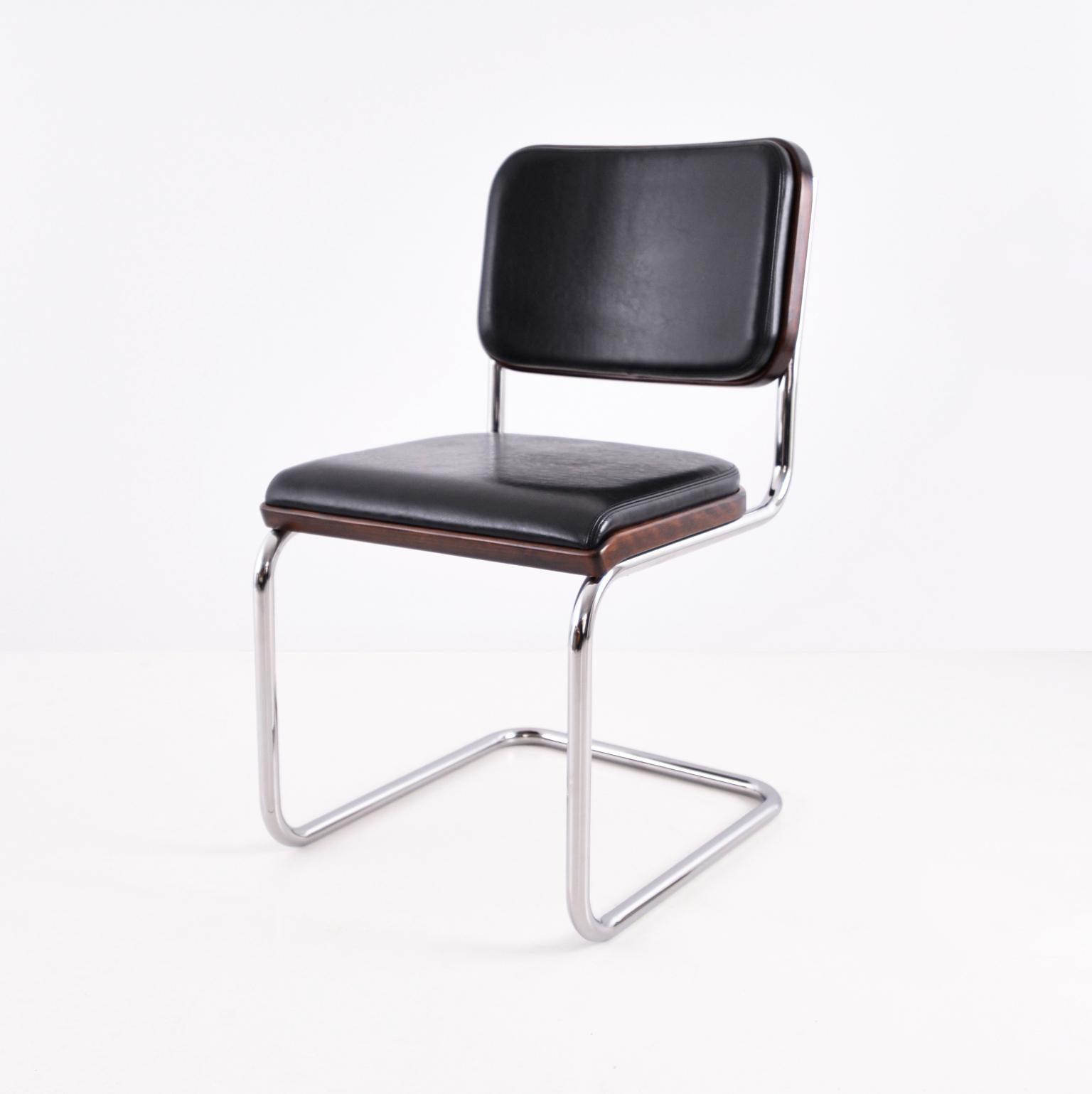 Bauhaus Upholstered Tubular Steel Cantilever Cesca Chair By Marcel Breuer