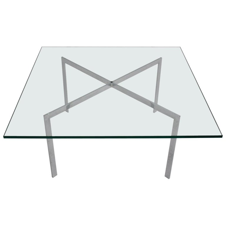Bauhaus Vintage Chrome Glass Coffee Table Barcelona By