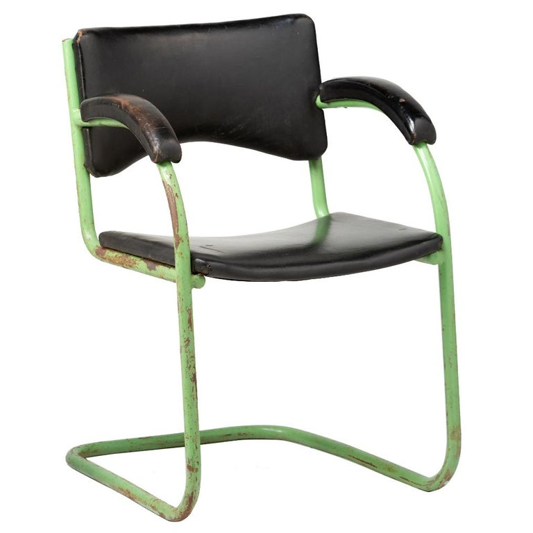 Bauhaus Vinyl-Leather and Metal Armchair, circa 1930 For ...