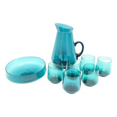 Bauhaus Wagenfeld Style Juice Jug and Drinking Glasses Set 1950s Vintage Barware