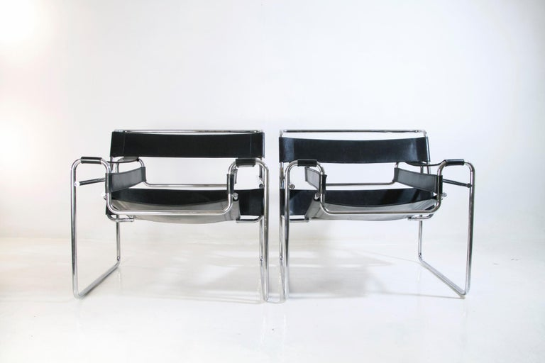A pair of Wassily chairs, also known as the B3 Chair, designed by Marcel Breuer in 1925 while he was working at the Bauhaus. These were produced by Knoll International in the 1960's. Bought from the original owners who bought them in Rome, Italy.