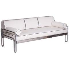 Bauhaus White Tubular Chrome Sofa by Robert Slezák, Design by Thonet, 1930s