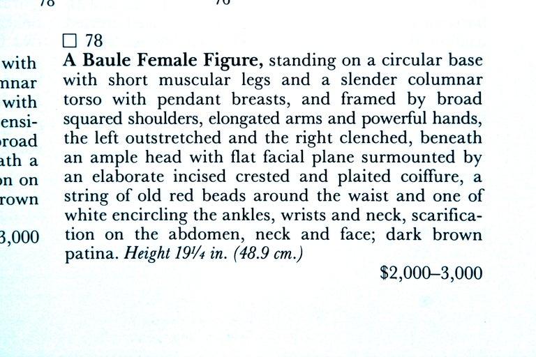 Baule Female Carved Wood Figure, African Sculpture Sotheby's Provenance For Sale 3