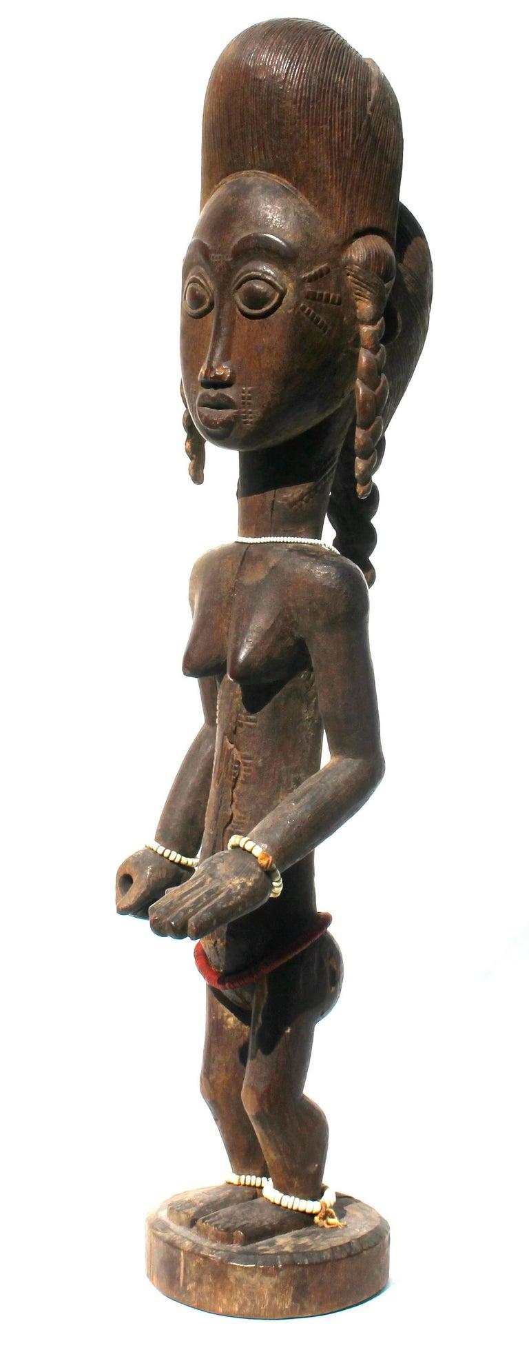 Tribal Baule Female Carved Wood Figure, African Sculpture Sotheby's Provenance For Sale