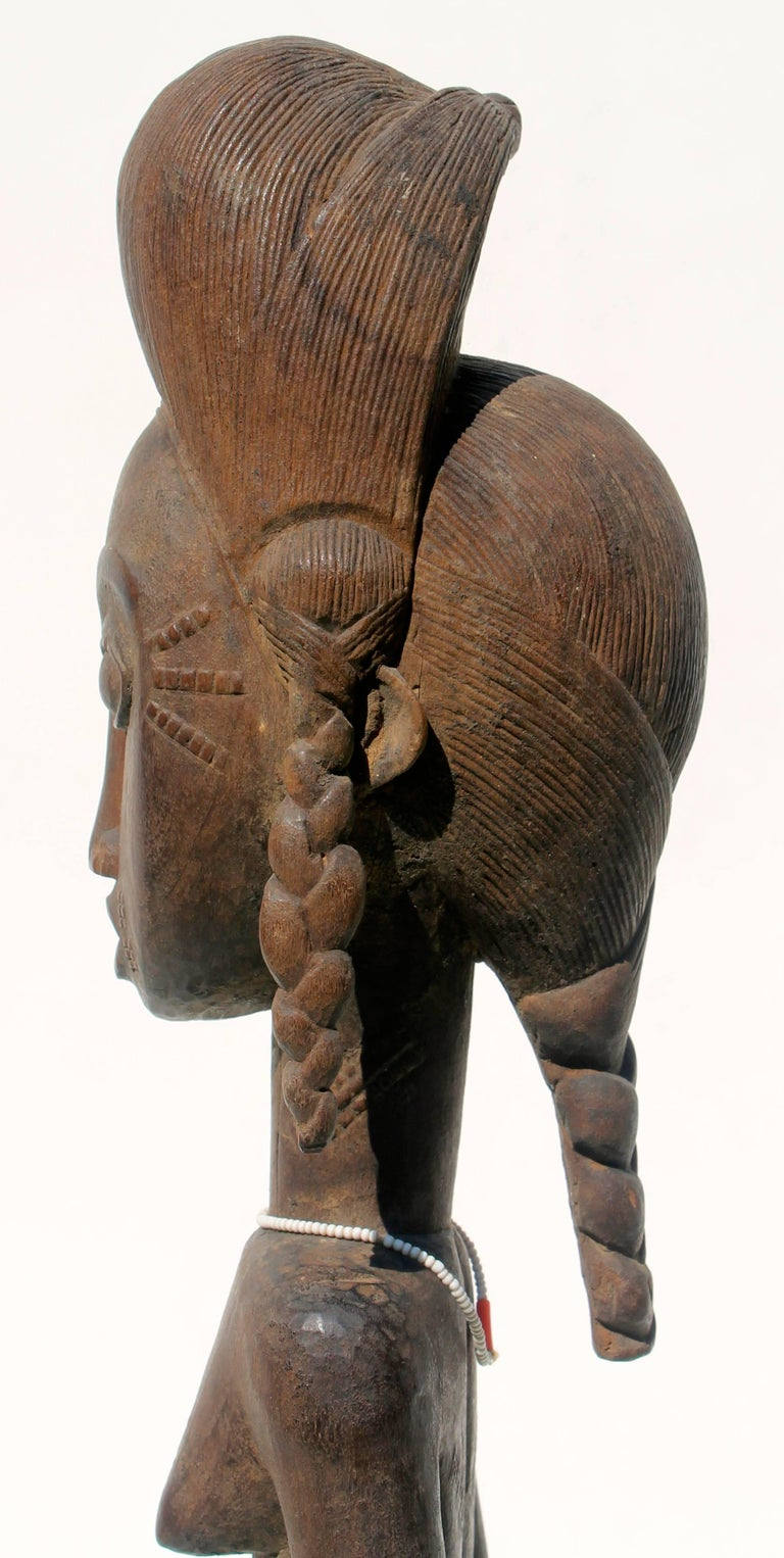 20th Century Baule Female Carved Wood Figure, African Sculpture Sotheby's Provenance For Sale
