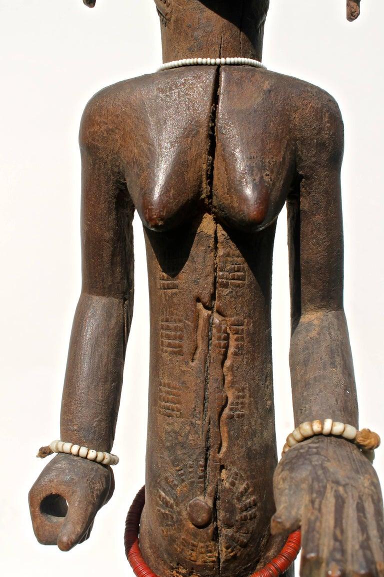 Baule Female Carved Wood Figure, African Sculpture Sotheby's Provenance For Sale 1
