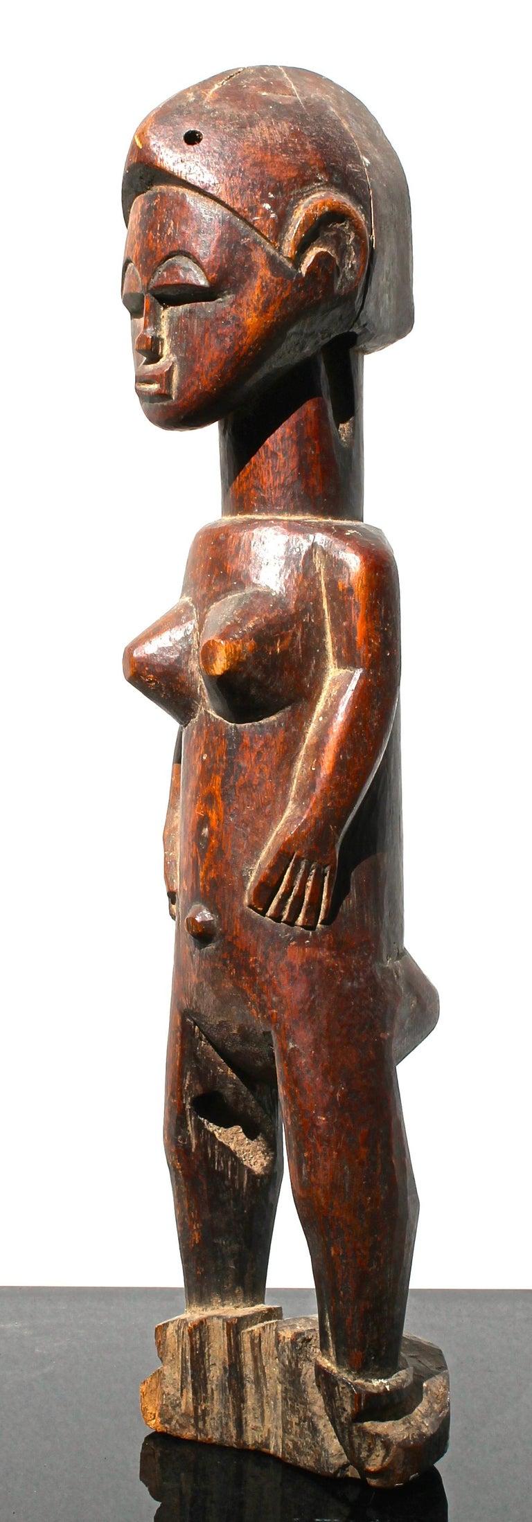 Tribal Baule Female Figure African Sculpture For Sale
