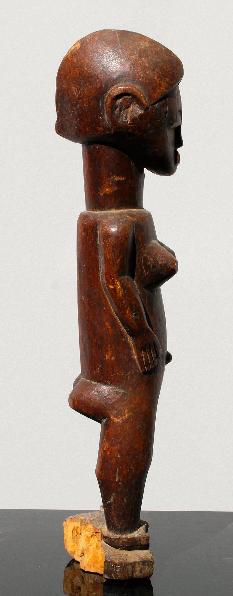 Wood Baule Female Figure African Sculpture For Sale