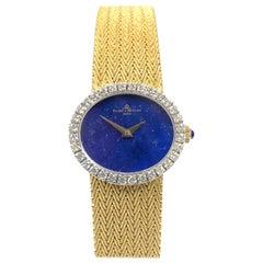 Baum & Mercier Gold Lapis Dial and Diamond Set Ladies Wristwatch