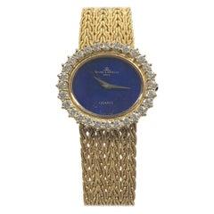 Baum & Mercier Yellow Gold Lapis Dial and Diamonds Ladies Mechanical Wrist watch