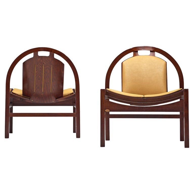 Baumann 'Argos' Lounge Chairs in Leather For Sale
