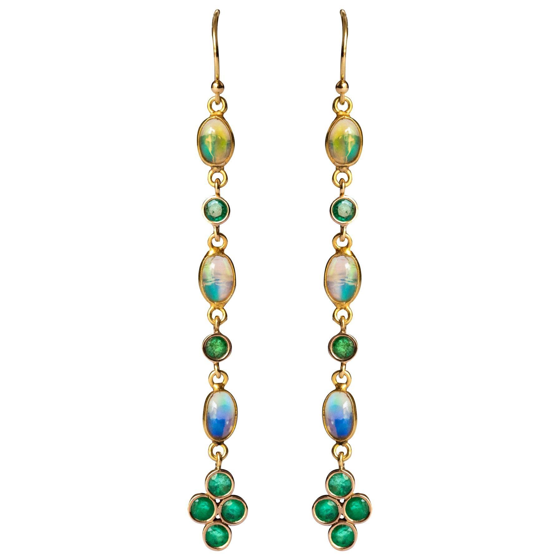 Baume 0.84 Carat Emeralds Opals 18 Karat Yellow Gold Dangle Earrings