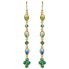 Baume 0.84 Carat Emeralds Opals 18 Karat Yellow Gold Dangle Earrings