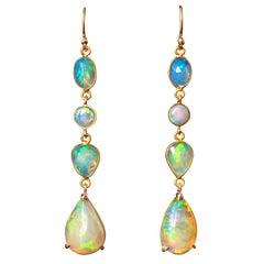 Baume 11.60 Carat Opals 18 Karat Yellow Gold Dangle Earrings