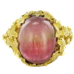 Baume 16 Carat Watermelon Cabochon Tourmaline Gold Ring