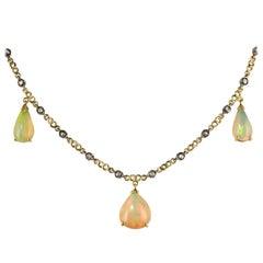 Baume 5.87 Carat Opal Diamond Gold Necklace