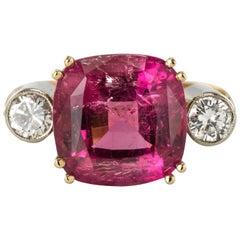 Baume 7.50 Carats Cushion Cut Tourmaline Diamond Ring