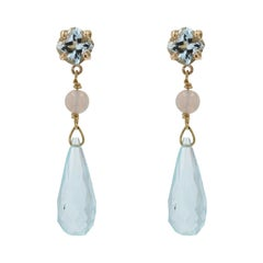 Baume Creation Aquamarine Opal 18 Karat Yellow Gold Earrings Pendants