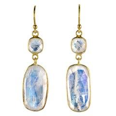 Baume Creation New Moonstones Yellow Gold Dangle Earrings