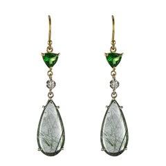 Baume Creation Rutilated Quartz Tsavorite Garnet Diamond Dangle Earrings