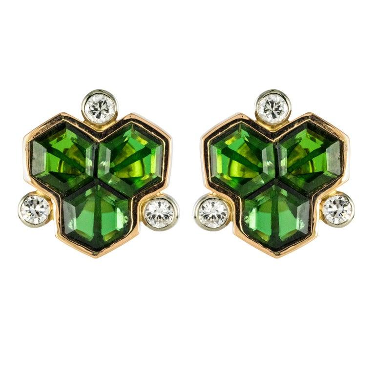 Baume Creation Tourmaline Diamonds 18 Karat Yellow Gold Stud Earrings For Sale