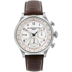 Baume et Mercier Capeland White Arabic Dial Steel Automatic Men's Watch 10082
