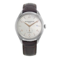 Baume et Mercier Clifton Silver Dial Leather Steel Automatic Mens Watch MOA10054