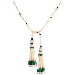 Baume Long Onyx Pearl Emerald Art Deco Style Necklace