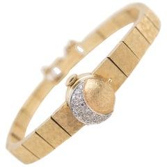 Baume & Mercier 14 Karat Gold and Diamond Hinged Cover Stem Wind Wristwatch
