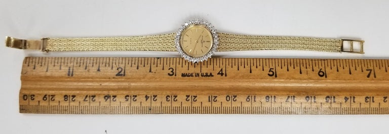 Baume & Mercier 14 Karat Yellow Gold and Diamond Watch For Sale 4