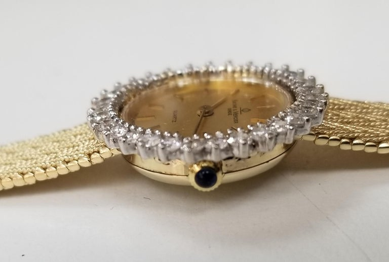 Contemporary Baume & Mercier 14 Karat Yellow Gold and Diamond Watch For Sale