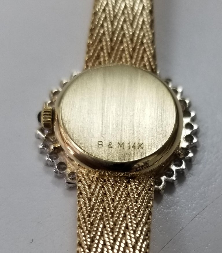 Baume & Mercier 14 Karat Yellow Gold and Diamond Watch In Excellent Condition For Sale In Los Angeles, CA