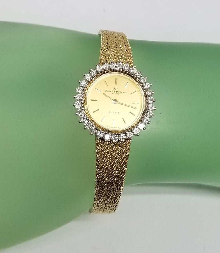 Baume & Mercier 14 Karat Yellow Gold and Diamond Watch For Sale 2