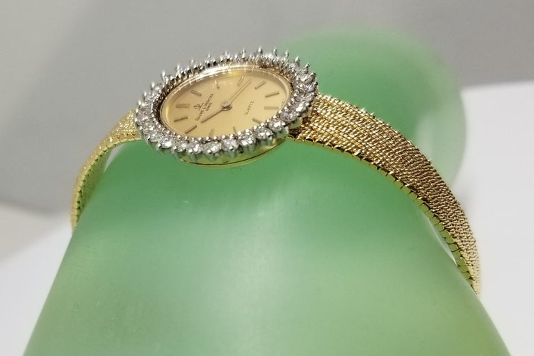 Baume & Mercier 14 Karat Yellow Gold and Diamond Watch For Sale 3