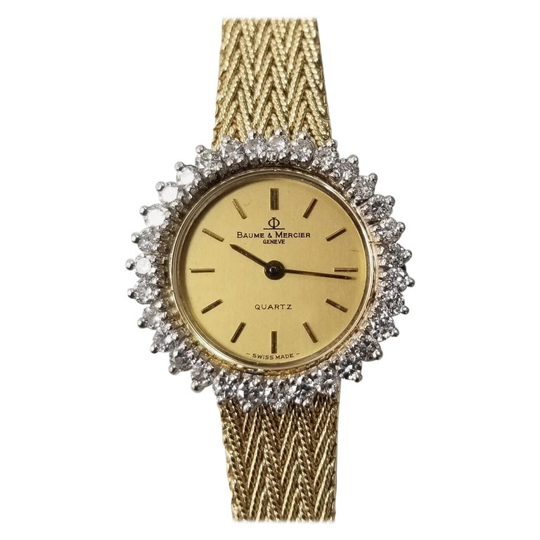 Baume & Mercier 14 Karat Yellow Gold and Diamond Watch For Sale