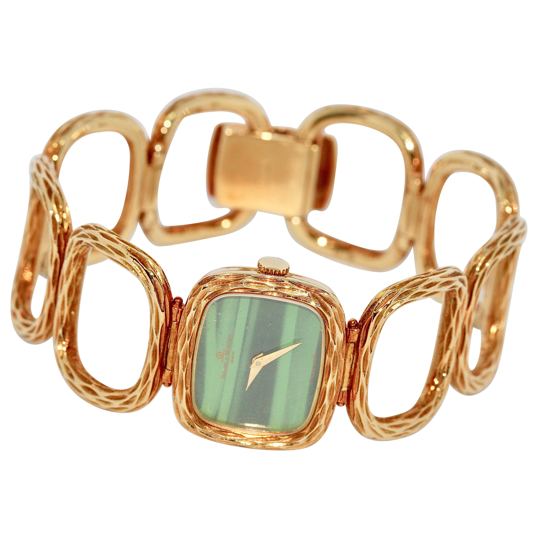 Baume & Mercier, 18 Karat Gold and Malachite Ladies Bracelet Wristwatch