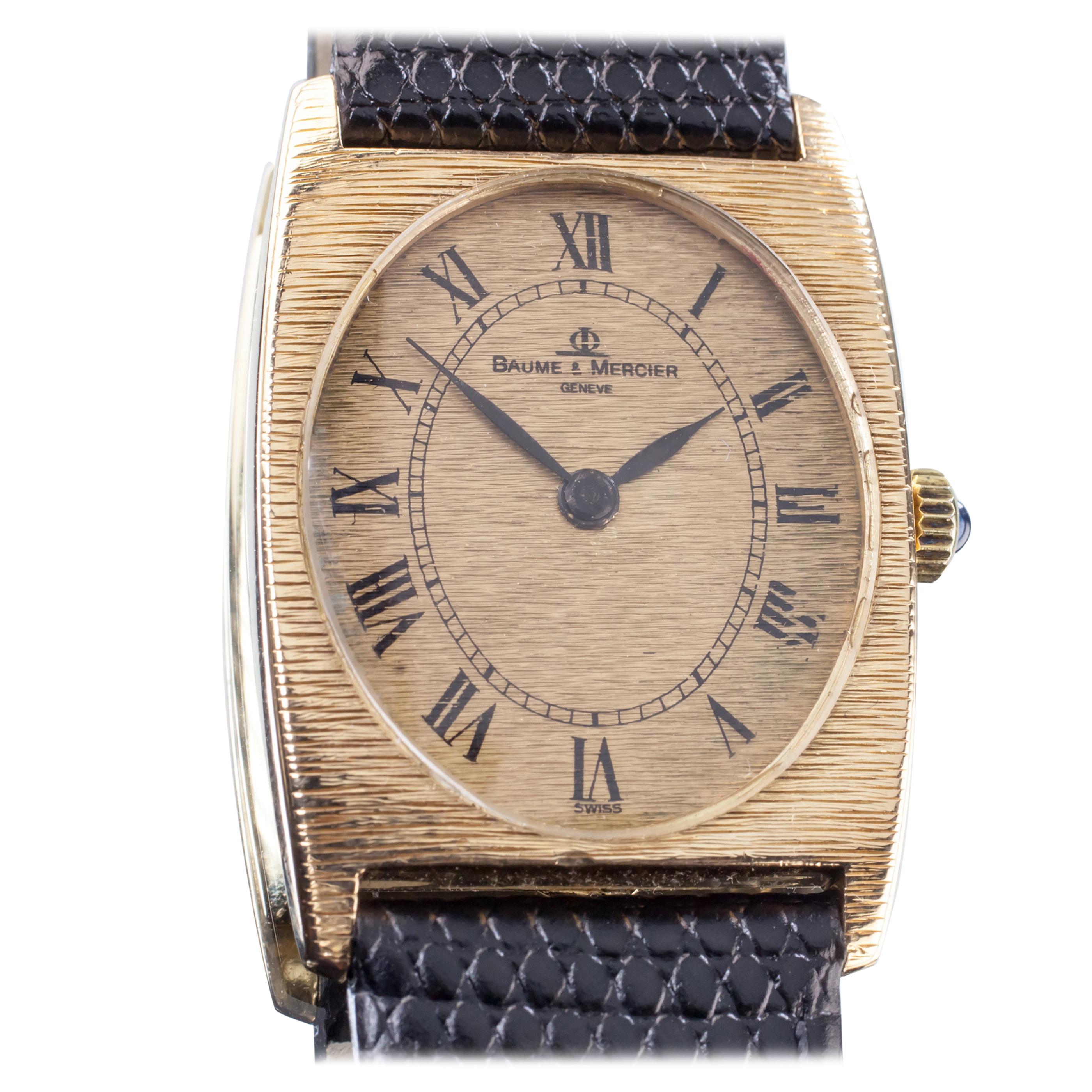 Baume & Mercier 18 Karat Gold Tonneau Hand-Winding Watch with Black Leather Band